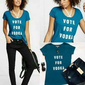 NWT Express Vote For Vodka Graphic Tee Sz XS
